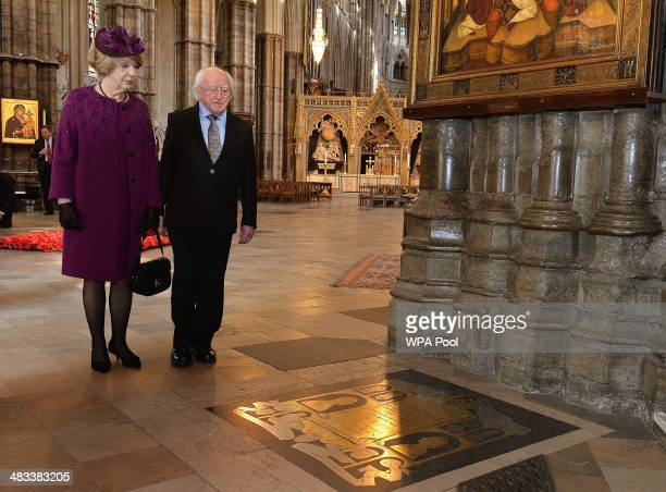 Irish President Michael D Higgins and his wife Sabina view the floor memorial to Earl Mountbatten of Burma and his wife during a visit to Westminster...