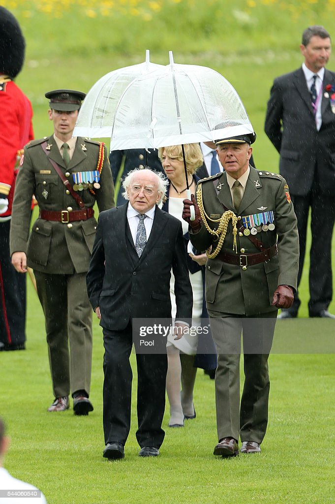 Irish President Michael D Higgins attends a service to mark the 100th anniversary of the beginning of the Battle of the Somme at the Thiepval memorial to the Missing on July 1, 2016 in Thiepval, France. The event is part of the Commemoration of the Centenary of the Battle of the Somme at the Commonwealth War Graves Commission Thiepval Memorial in Thiepval, France, where 70,000 British and Commonwealth soldiers with no known grave are commemorated.