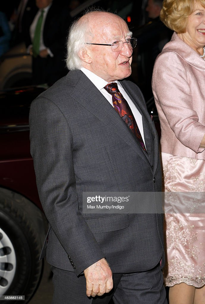 Irish President Michael D Higgins attends Ceiliuradh (an Irish cultural concert of music, spoken word and dance) at the Royal Albert Hall on April 10, 2014 in London, England. Ireland's <a gi-track='captionPersonalityLinkClicked' href=/galleries/search?phrase=Michael+D.+Higgins&family=editorial&specificpeople=7493414 ng-click='$event.stopPropagation()'>Michael D. Higgins</a> is making the first state visit by a president of the republic since it gained independence from neighbouring Britain. The visit comes three years after Queen Elizabeth II made a groundbreaking trip to the republic, which helped to heal deep-rooted unease and put British-Irish relations on a new footing.