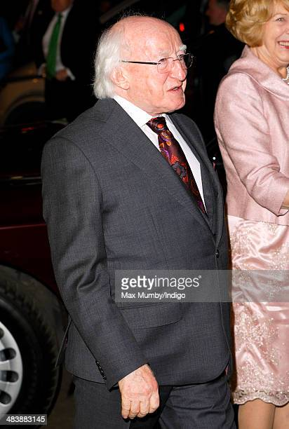 Irish President Michael D Higgins attends Ceiliuradh at the Royal Albert Hall on April 10 2014 in London England Ireland's Michael D Higgins is...