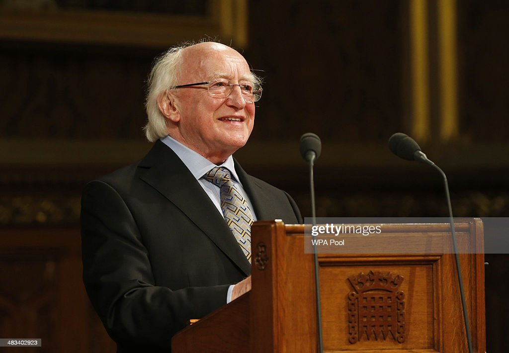 Irish President <a gi-track='captionPersonalityLinkClicked' href=/galleries/search?phrase=Michael+D.+Higgins&family=editorial&specificpeople=7493414 ng-click='$event.stopPropagation()'>Michael D. Higgins</a> delivers his speech at the Houses of Parliament on April 08, 2014 in London, United Kingdom. Ireland's President <a gi-track='captionPersonalityLinkClicked' href=/galleries/search?phrase=Michael+D.+Higgins&family=editorial&specificpeople=7493414 ng-click='$event.stopPropagation()'>Michael D. Higgins</a> is making the first state visit by a president of the republic since it gained independence from neighbouring Britain. The visit comes three years after Queen Elizabeth II made a groundbreaking trip to the republic, which helped to heal deep-rooted unease and put British-Irish relations on a new footing. Higgins' return visit will be seen as an official sign of further progress following the hard-won peace in Northern Ireland, which remains part of the United Kingdom.