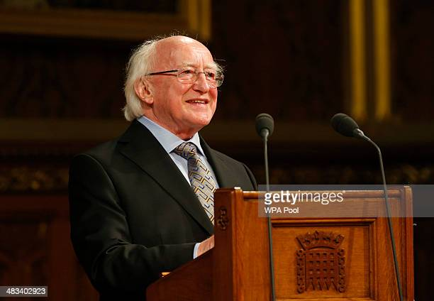 Irish President Michael D Higgins delivers his speech at the Houses of Parliament on April 08 2014 in London United Kingdom Ireland's President...