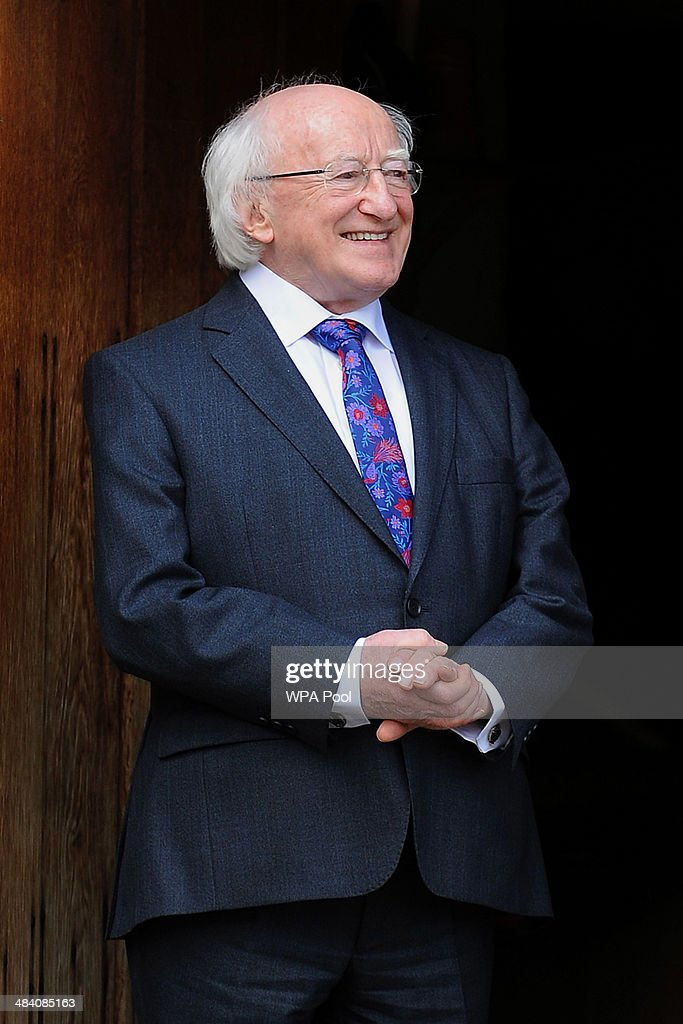 Irish President <a gi-track='captionPersonalityLinkClicked' href=/galleries/search?phrase=Michael+D.+Higgins&family=editorial&specificpeople=7493414 ng-click='$event.stopPropagation()'>Michael D. Higgins</a> during a visit to Shakespeare's Birthplace on April 11, 2014 in Statford-upon-Avon, England. Ireland's <a gi-track='captionPersonalityLinkClicked' href=/galleries/search?phrase=Michael+D.+Higgins&family=editorial&specificpeople=7493414 ng-click='$event.stopPropagation()'>Michael D. Higgins</a> is making the first state visit by a president of the republic since it gained independence from neighbouring Britain. The visit comes three years after Queen Elizabeth II made a groundbreaking trip to the republic, which helped to heal deep-rooted unease and put British-Irish relations on a new footing.