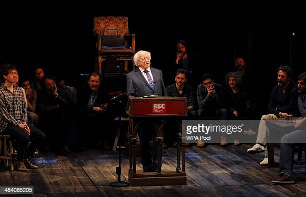 Irish President Michael D Higgins gives a speech on stage in front of the cast of Henry IV Part I at the Royal Shakespeare Company on April 11 2014...
