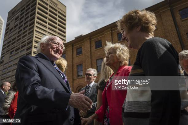 Irish President Michael D Higgins greets family members of victims of the Irish Famine at The Australian Monument to the Great Irish Famine in Sydney...