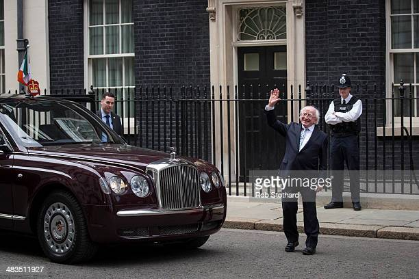 Irish President Michael D Higgins leaves 10 Downing Street after meeting with British Prime Minster David Cameron on April 9 2014 in London England...