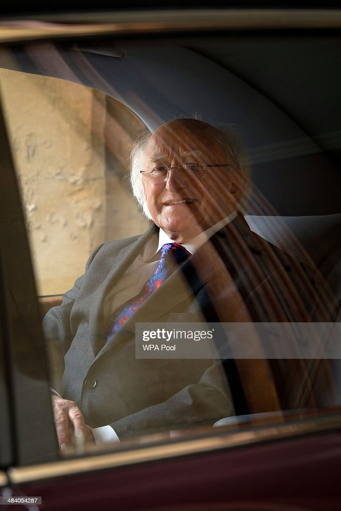Irish President <a gi-track='captionPersonalityLinkClicked' href=/galleries/search?phrase=Michael+D.+Higgins&family=editorial&specificpeople=7493414 ng-click='$event.stopPropagation()'>Michael D. Higgins</a> leaves Windsor Castle at the end of his official visit on April 11, 2014 in Windsor, United Kingdom. Ireland's <a gi-track='captionPersonalityLinkClicked' href=/galleries/search?phrase=Michael+D.+Higgins&family=editorial&specificpeople=7493414 ng-click='$event.stopPropagation()'>Michael D. Higgins</a> is making the first state visit by a president of the republic since it gained independence from neighbouring Britain. The visit comes three years after Queen Elizabeth II made a groundbreaking trip to the republic, which helped to heal deep-rooted unease and put British-Irish relations on a new footing.