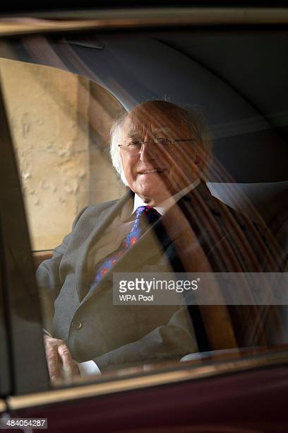 Irish President Michael D Higgins leaves Windsor Castle at the end of his official visit on April 11 2014 in Windsor United Kingdom Ireland's Michael...