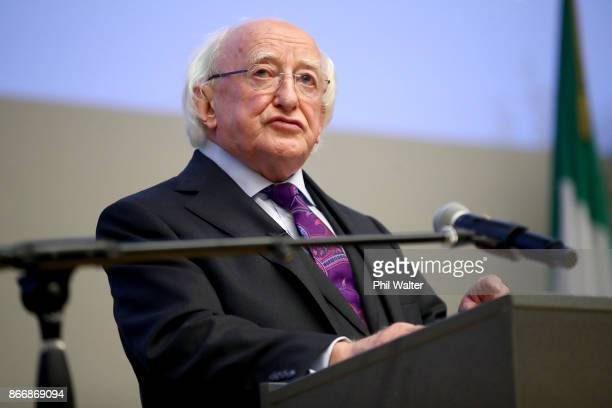 Irish President Michael D Higgins makes his key note speech at Auckland University on October 27 2017 in Auckland New Zealand Higgins is on a sixday...