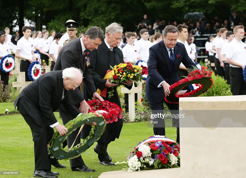 Irish President Michael D Higgins, Sir Tim Laurence, former German President Horst Kohler and British Prime Minister David Cameron lay wreaths during the Commemoration of the Centenary of the Battle of the Somme at the Commonwealth War Graves Commission Thiepval Memoria on July 1, 2016 in Thiepval, France. The event is part of the Commemoration of the Centenary of the Battle of the Somme at the Commonwealth War Graves Commission Thiepval Memorial in Thiepval, France, where 70,000 British and Commonwealth soldiers with no known grave are commemorated.