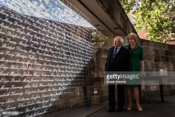 Irish President Michael D Higgins with his partner Sabina Higgins inspect The Australian Monument to the Great Irish Famineat October 18 2017 in...