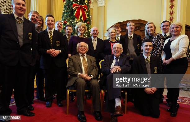 Irish President Michael D Higgins with Ian Paisley former First Minister of Northern Ireland during a reception at Belfast City Hall to mark St...
