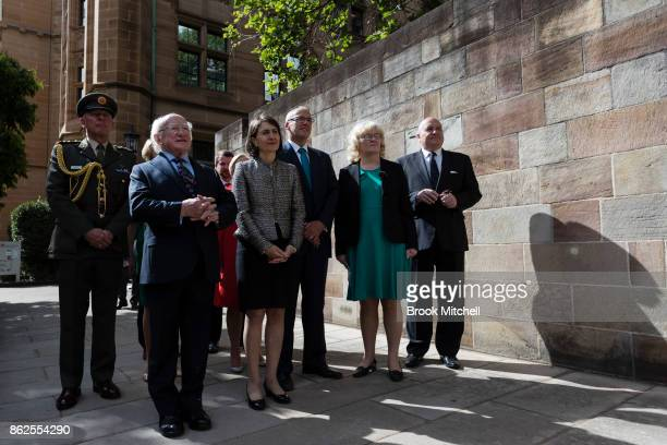 Irish President Michael D Higgins with the Premier of New South Wales Gladys Berejiklian and NSW Opposition Leader Luke Foley at The Australian...