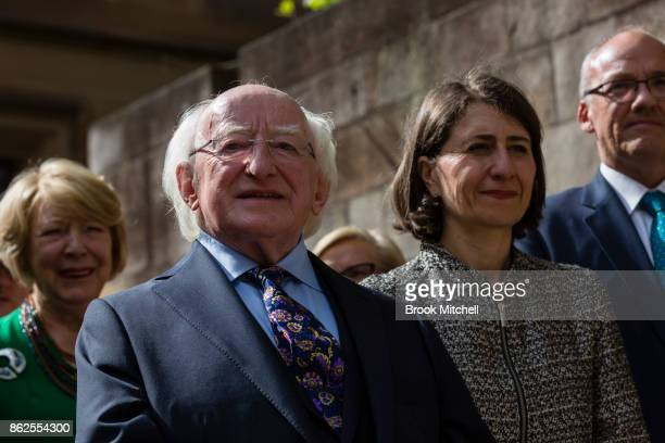 Irish President Michael D Higgins with the Premier of New South Wales Gladys Berejiklian at The Australian Monument to the Great Irish Famine on...
