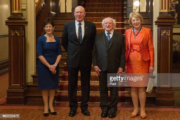 Irish President Michael Higgins and his wife Sabina pose for a photo with New South Wales state Governor David Hurley and his wife Linda at...
