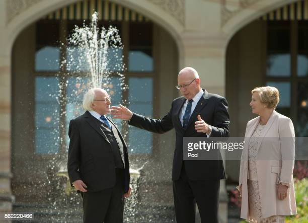 Irish President Michael Higgins walks with New South Wales state Governor David Hurley and Frances Fitzgerald Deputy Prime Minister of Ireland on the...