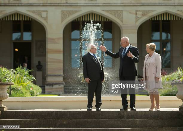 Irish President Michael Higgins walks with New South Wales state Governor David Hurley and Deputy Prime Minister of Ireland Frances Fitzgerald on the...