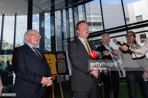 Irish President Michael Higgins with ARU Chief Bill Pulver at Rugby Union HQ in Moore Park on October 18 2017 in Sydney Australia The ARU announced a...