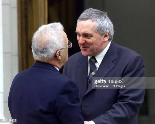 Irish Prime Minister Bertie Ahern at the Government Buildings in Dublin where he met the Prime Minister of Malta Edward Fenech Adami This afternoon...