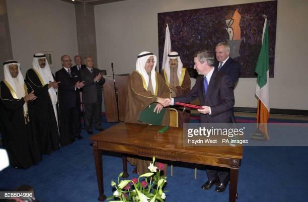 Irish Prime Minister Bertie Ahern with the Prime Minister of Bahrain Shaikh Khalifa Bin Al Khalifa watch Deputy Prime Minister for Bahrain Shaik...