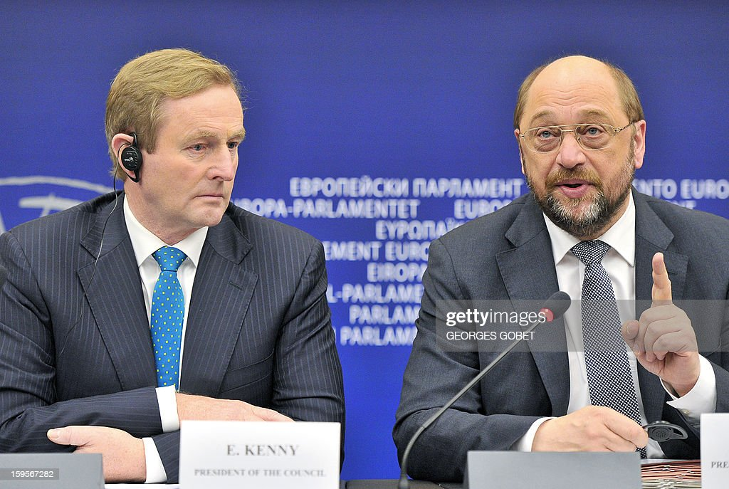 Irish Prime Minister Enda Kenny (L) and European Parliament President Martin Schulz (R) give a press conferences following the presentation of the Irish presidency programe on January 16,2013 at the European Parliament in Strasbourg. Enda Kenny The Taoiseach make the keynote speech in the European Parliament to present the Irish presidency programme and priorities. The Taoiseach focus on Ireland's priorities of stability, jobs and growth and the importance of working closely with the European Parliament and its members.