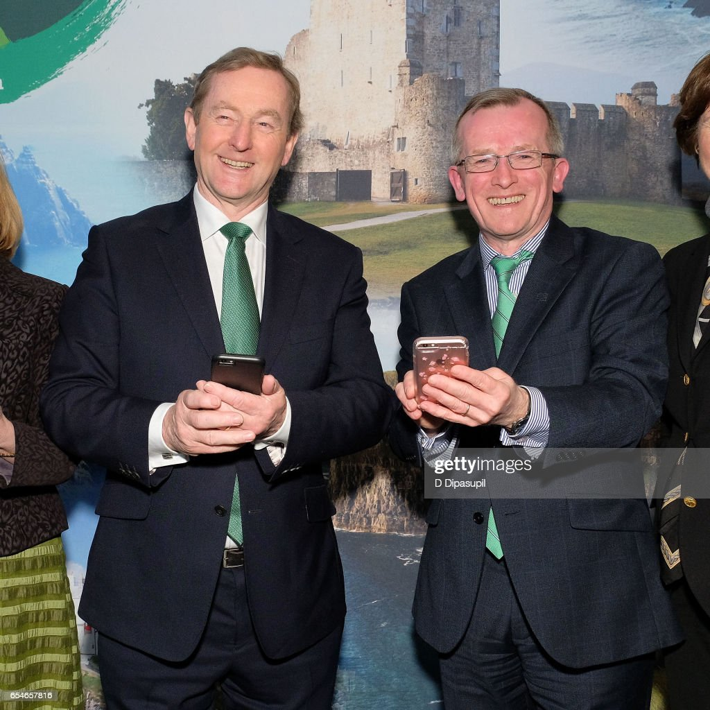 Irish Prime Minister Enda Kenny (L) and Tourism Ireland CEO Niall Gibbons attend as Tourism Ireland marks its St. Patrick's Day Global Greening Initiative at One World Observatory on March 17, 2017 in New York City.