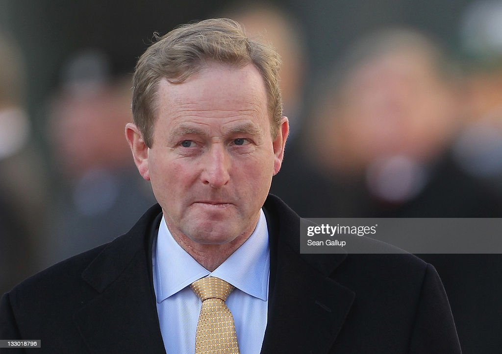 Irish Prime Minister (Taoiseach) <a gi-track='captionPersonalityLinkClicked' href=/galleries/search?phrase=Enda+Kenny&family=editorial&specificpeople=5129605 ng-click='$event.stopPropagation()'>Enda Kenny</a> arrives at the Chancellery to meet with German Chancellor Angela Merkel on November 16, 2011 in Berlin, Germany. The leaders are to discuss the Eurozone treaty framework and whether it might be changed to allow greater flexibility for member countries who fall into debt hardship.