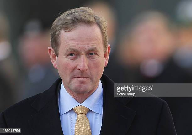 Irish Prime Minister Enda Kenny arrives at the Chancellery to meet with German Chancellor Angela Merkel on November 16 2011 in Berlin Germany The...