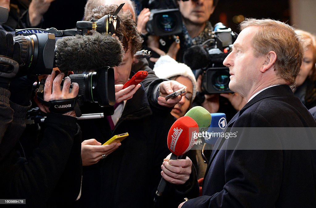 Irish Prime Minister Enda Kenny arrives at the EU Headquarters on February 7, 2013 in Brussels, on the first day of a two-day European Union leaders summit. European Union leaders head into a fresh clash over the EU's budget with the only certainty being that proposals for several years will be cut back. AFP PHOTO / THIERRY CHARLIER