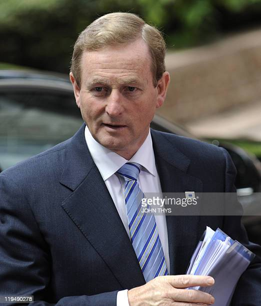 Irish Prime Minister Enda Kenny arrives for the EU summit on July 21 2010 at the European Council headquarters in BrusselsEurozone leaders seeking to...