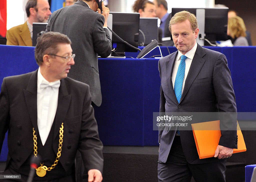 Irish Prime Minister Enda Kenny arrives to give a speech on January 16, 2013 at the European Parliament in Strasbourg, to present the Irish Presidency program and priorities for the country's six-month EU presidency which runs to June.