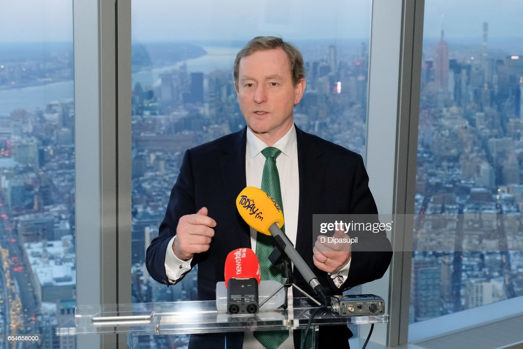 Irish Prime Minister Enda Kenny attends as Tourism Ireland marks its St. Patrick's Day Global Greening Initiative at One World Observatory on March 17, 2017 in New York City.