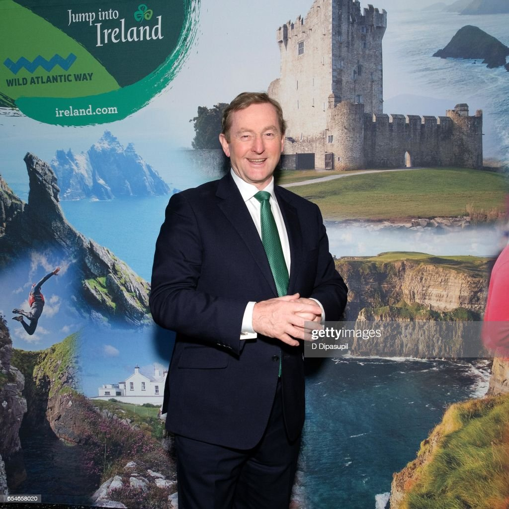 Ireland Taoiseach Enda Kenny Flips Ceremonial Switch To Light Buildings Green Throughout New York City