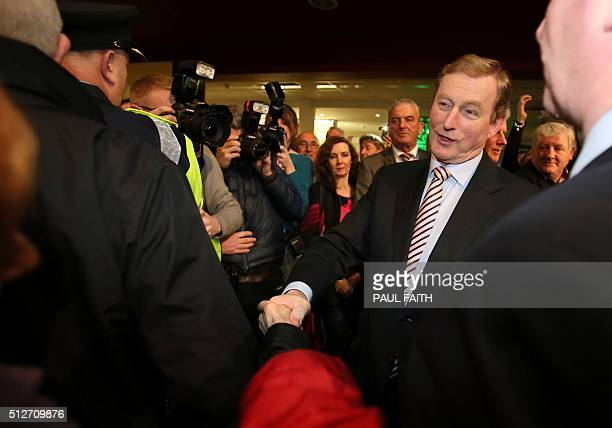 Irish Prime Minister Enda Kenny Fine Gael party leader arrives at the vote count in Castlebar in Ireland on February 27 2016 during counting in the...