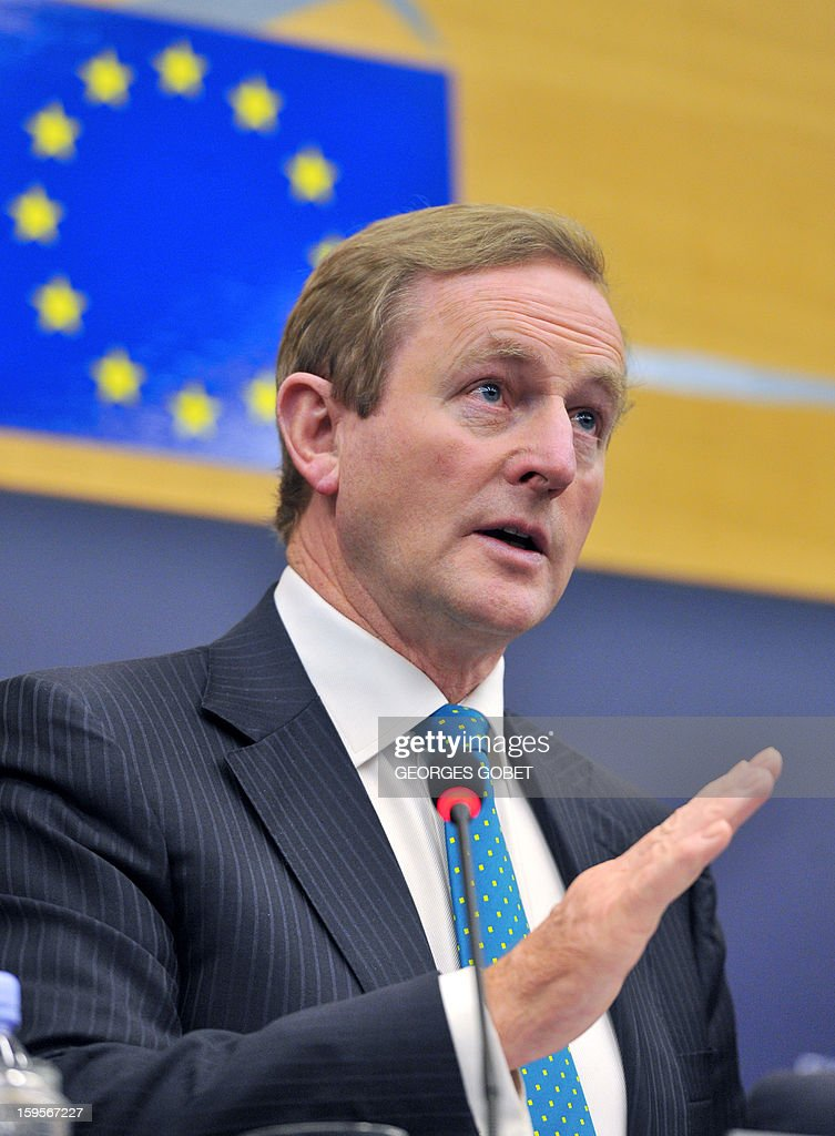 Irish Prime Minister Enda Kenny gives a press conferences following the presentation of the Irish presidency programe on January 16,2013 at the European Parliament in Strasbourg. Enda Kenny The Taoiseach make the keynote speech in the European Parliament to present the Irish presidency programme and priorities. The Taoiseach focus on Ireland's priorities of stability, jobs and growth and the importance of working closely with the European Parliament and its members. AFP PHOTO GEORGES GOBET