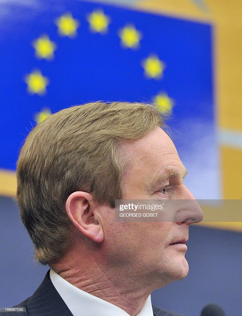 Irish Prime Minister Enda Kenny gives a press conferences following the presentation of the Irish presidency programe on January 16,2013 at the European Parliament in Strasbourg. Enda Kenny The Taoiseach make the keynote speech in the European Parliament to present the Irish presidency programme and priorities. The Taoiseach focus on Ireland's priorities of stability, jobs and growth and the importance of working closely with the European Parliament and its members.