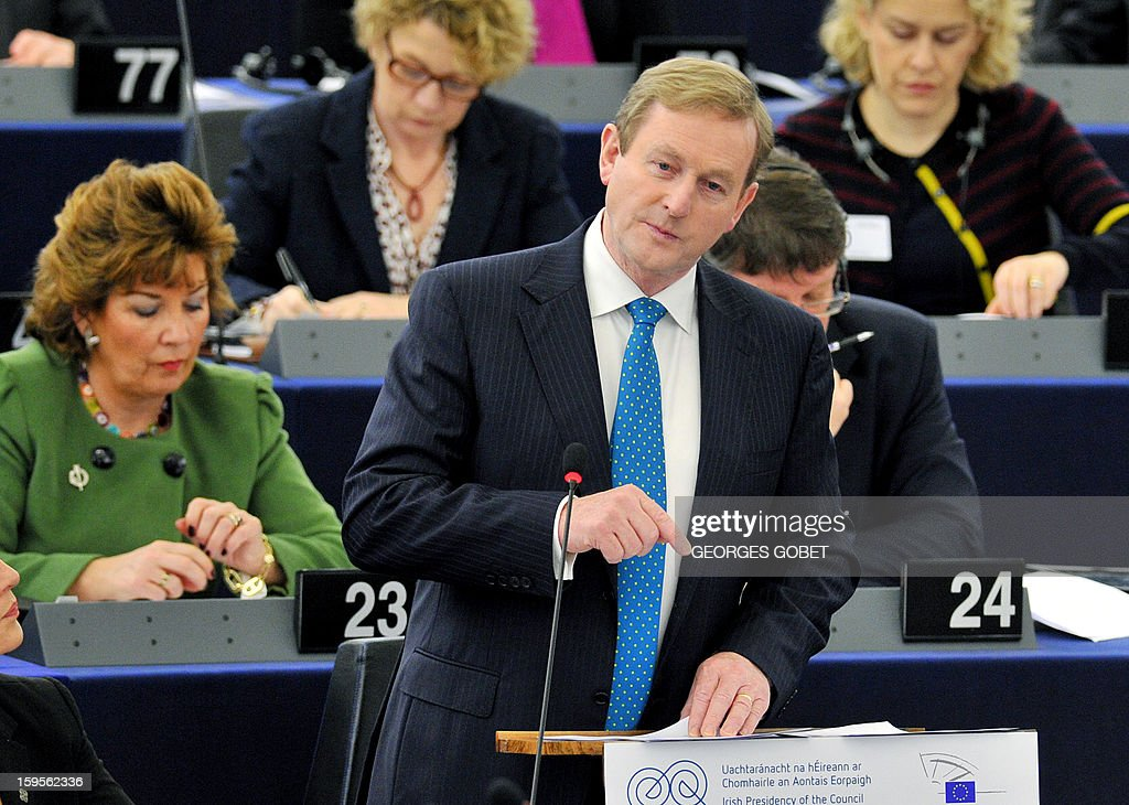 Irish Prime Minister Enda Kenny gives a speech on January 16, 2013 at the European Parliament in Strasbourg, to present the Irish Presidency program and priorities for the country's six-month EU presidency which runs to June. AFP PHOTO GEORGES GOBET