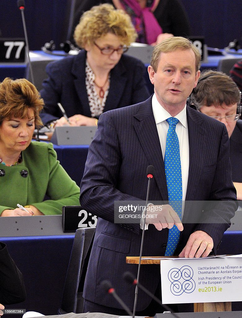 Irish Prime Minister Enda Kenny gives a speech on January 16, 2013 at the European Parliament in Strasbourg, to present the Irish Presidency program and priorities for the country's six-month EU presidency which runs to June.