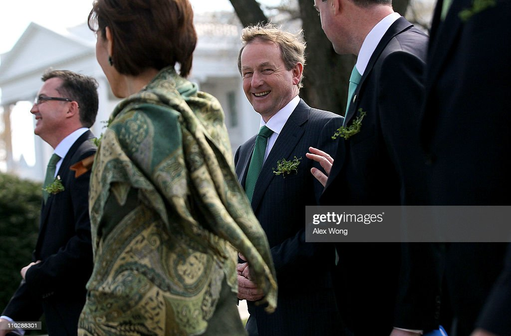 Irish Prime Minister Enda Kenny leaves the White House after a meeting with US President Barack Obama March 17 2011 in Washington DC President Obama...