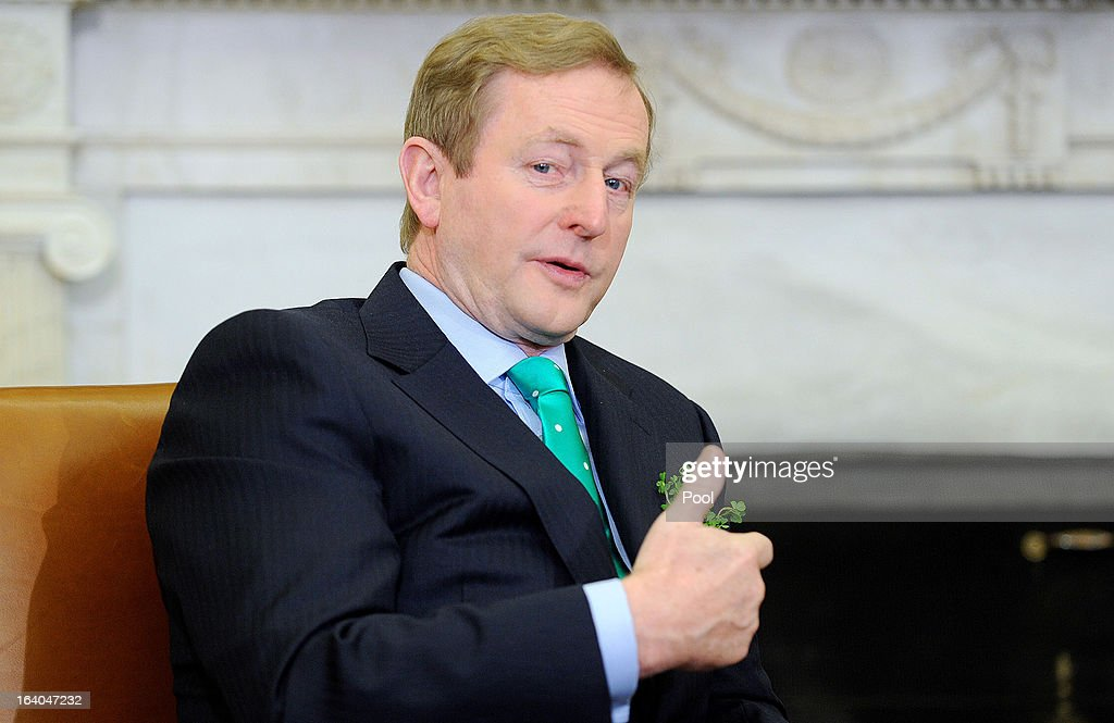 Irish Prime Minister Enda Kenny meets with U.S. President Barack Obama in the Oval Office of the White House March 19, 2013 in Washington, DC. Later in the day Kenny will have lunch at the U.S. Capitol with the Friends of Ireland.