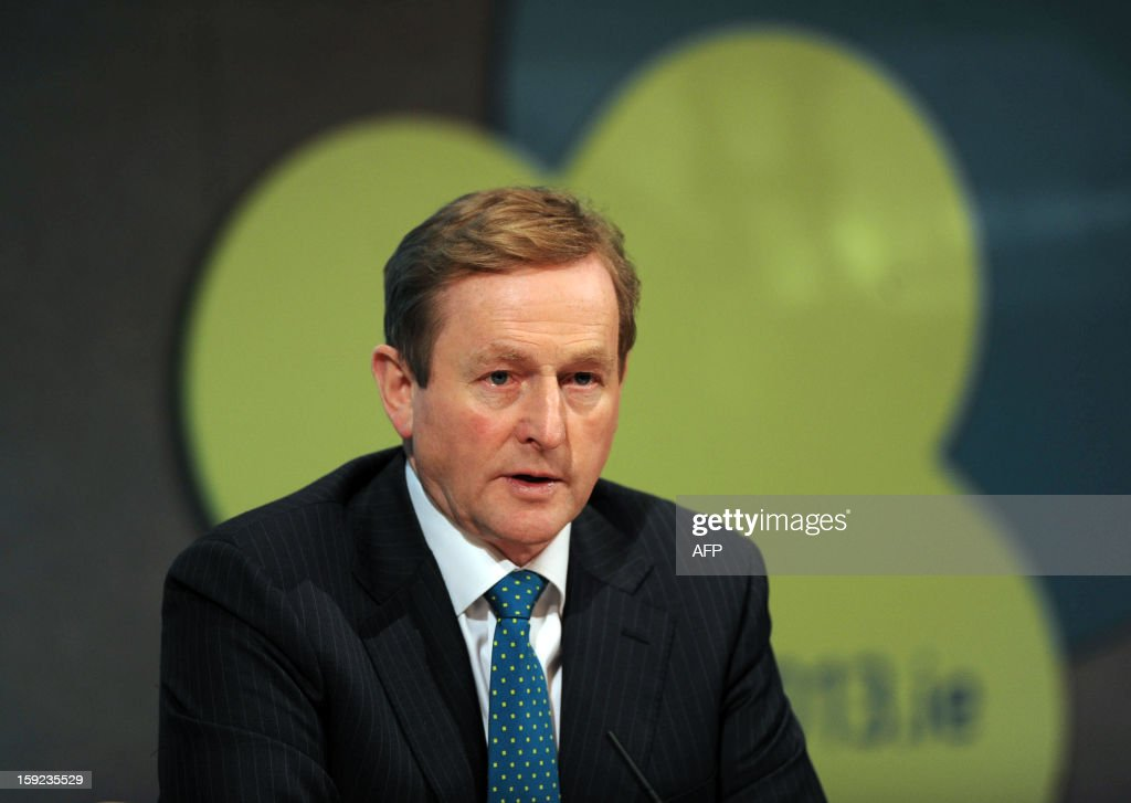 Irish Prime Minister Enda Kenny speaks during a press conference following a meeting between the Irish Government and Members of the College of Commissioners at Dublin Castle in Dublin on January 10, 2013 as Ireland began its six-month presidency of the European Union. AFP PHOTO / ARTUR WIDAK