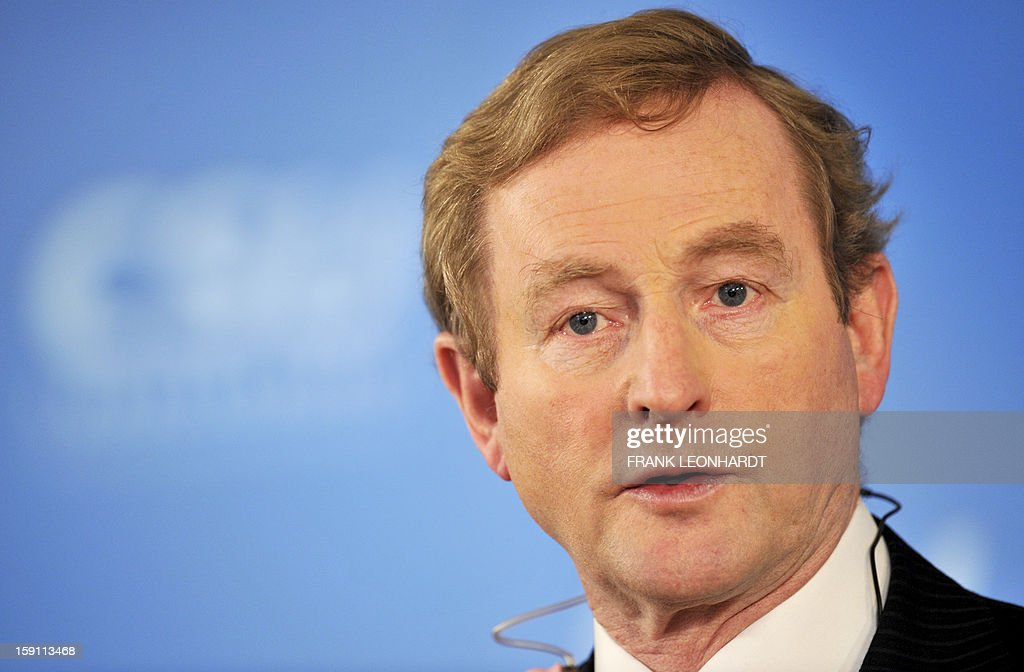 Irish Prime Minister Enda Kenny speaks during a press conference at a convention of the Bavarian CSU party in Wildbad Kreuth, southern Germany on January 08, 2013. Kenny was invited to speak about European politics as Ireland resumed the rotating EU presidency over Cyprus. The Irish Prime Minister also commented on the current situation in Northern Ireland, saying that the situation is very serious.