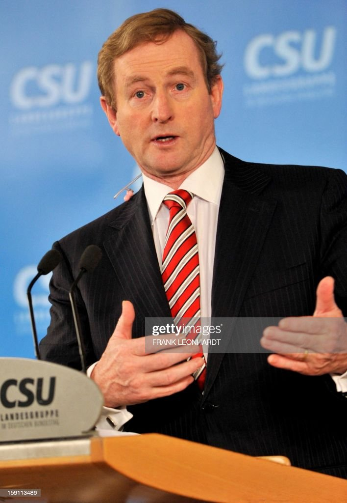 Irish Prime Minister Enda Kenny speaks during a press conference at a convention of the Bavarian CSU party in Wildbad Kreuth, southern Germany on January 08, 2013. Kenny was invited to speak about European politics as Ireland resumed the rotating EU presidency over Cyprus. The Irish Prime Minister also commented on the current situation in Northern Ireland, saying that the situation is very serious. AFP PHOTO / FRANK LEONHARDT GERMANY OUT