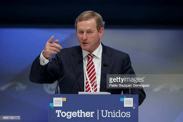 Irish Prime Minister Enda Kenny speaks during the plenary session of the European People's Party Congress on October 22 2015 in Madrid Spain Madrid...