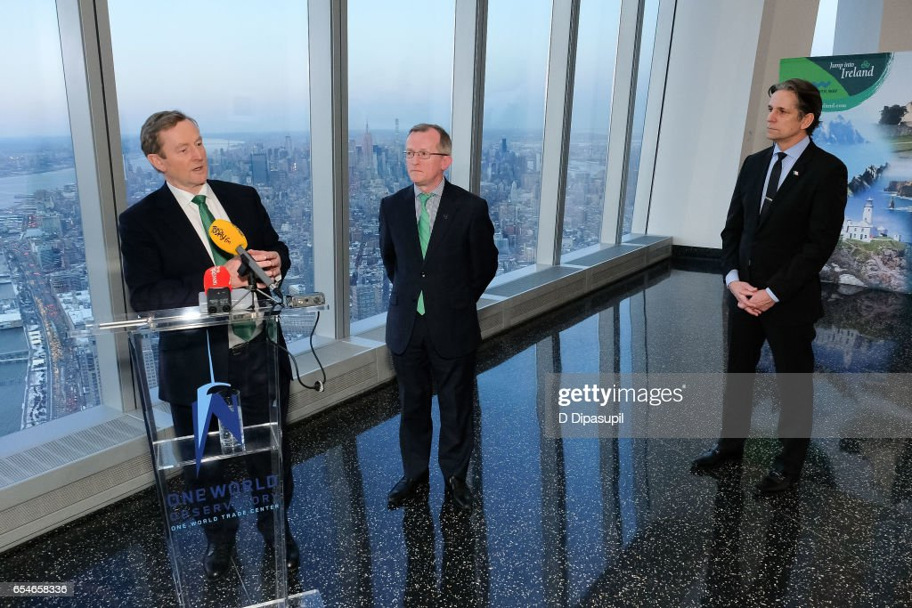 Irish Prime Minister Enda Kenny, Tourism Ireland CEO Niall Gibbons, and Legends General Manager and Vice President John Urban attend as Tourism Ireland marks its St. Patrick's Day Global Greening Initiative at One World Observatory on March 17, 2017 in New York City.
