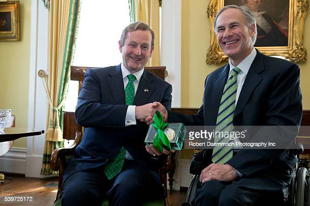 Irish Prime Minister Enda Kenny visits and exchanges gifts with Texas Governor Greg Abbott at a Sunday meeting in the Texas Governor's Mansion Kenny...