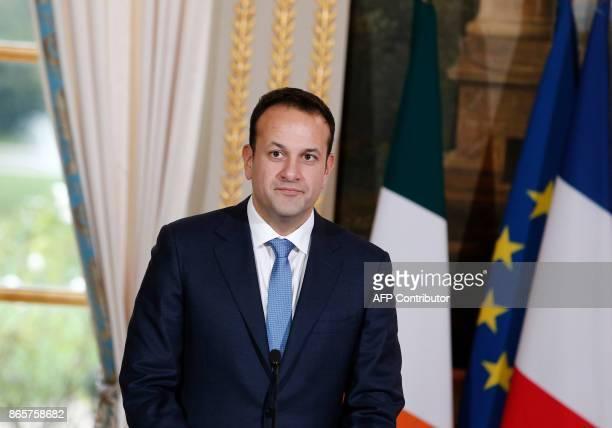 Irish Prime Minister Leo Varadkar looks on during a press conference with the French President at the Elysee Palace in Paris on October 24 2017 / AFP...