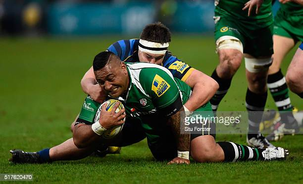Irish prop Halani Aulika is tackled by Nick Schonert of Worcester during the Aviva Premiership match between Worcester Warriors and London Irish at...