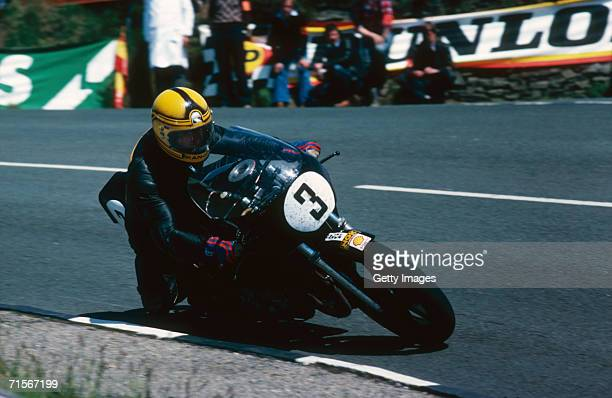 Irish racing motorcyclist Joey Dunlop riding in the Isle of Man TT races June 1981