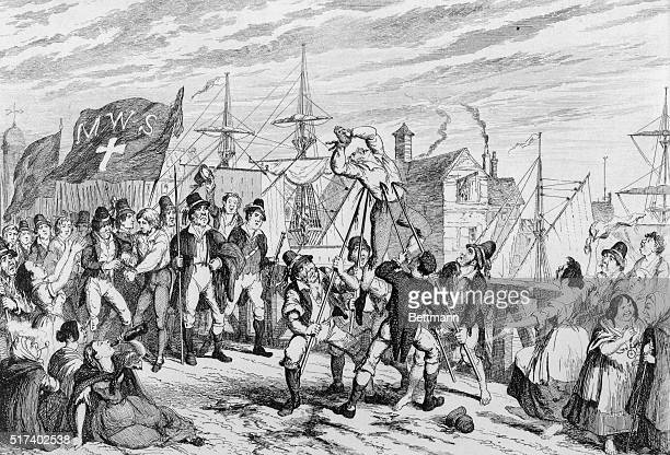 Irish Rebellion of 1798 Rebels execute their Protestant prisoners at Wexford June 20 1798 The rebel flag's MWS stands for murder Without Sin' Copper...